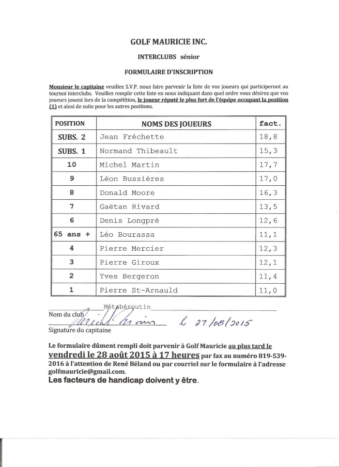 Interclubs séniors du 27-08-2015